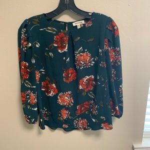 Green Top with Red Flowers &Puffed Sleeves- Size M
